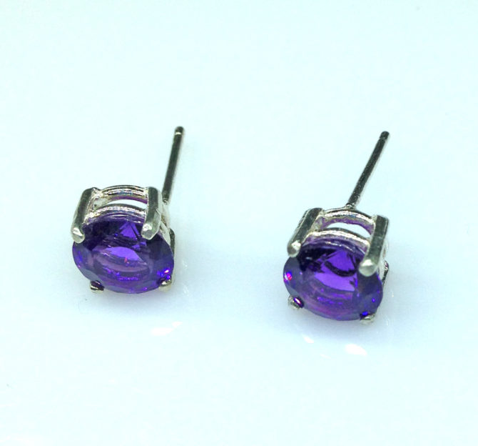 4219c Amethyst AZ Round Sterling Earrings