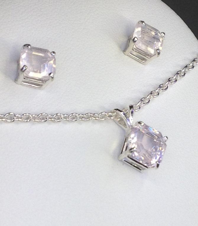 3041 Rose Quartz Pendant and earrings