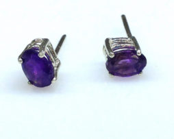 4235b Amethyst AZ Oval Sterling Earrings