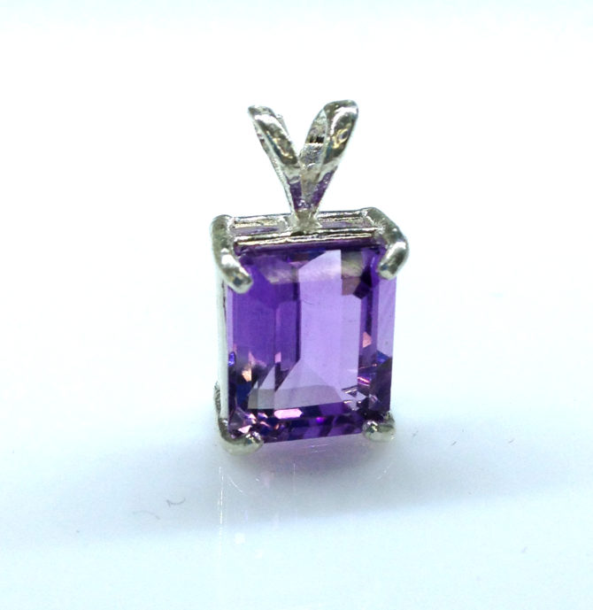 5298a Amethyst Rectangle Sterling Pendant