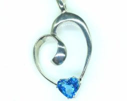 5387-105 Swiss Blue Topaz 9x9 Heart Sterling pendant