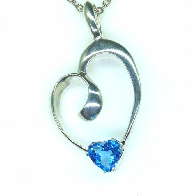 5387-105 Swiss Blue Topaz 9x9 Heart Sterling pendant