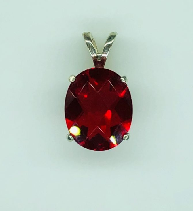 5420a Red Helenite 12x10 Oval Sterling Pendant
