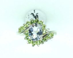 6126 White Topaz Peridot CO 10x8 Oval Sterling Ring