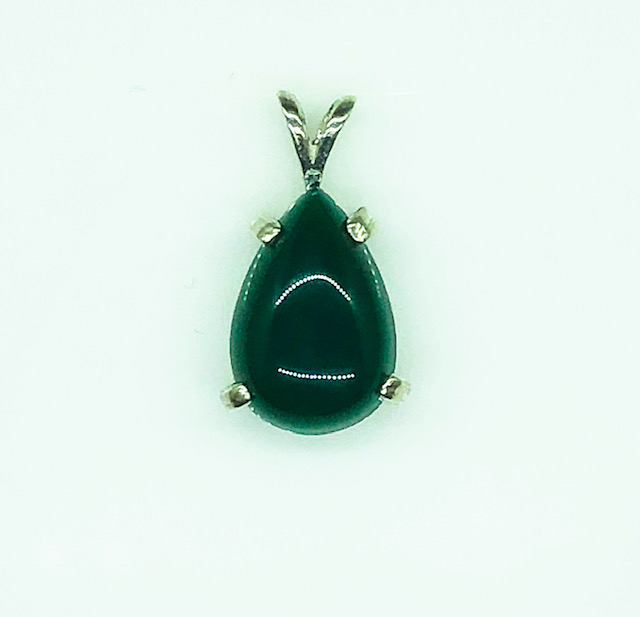 8104 Green Pear Chrysoprase Cab Sterling Pendant